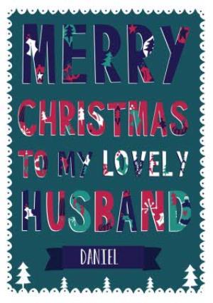 Greeting Cards - Hullabaloo Merry Christmas Husband Personalised Card - Image 1