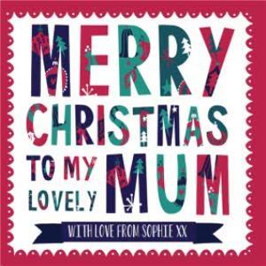Greeting Cards - Hullabaloo Merry Christmas To Mum Personalised Card - Image 1