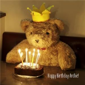 Greeting Cards - Bear With Cake And Candles Personalised Birthday Card - Image 1