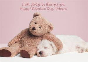 Greeting Cards - I Will Always Be There For You Teddy And Pup Personalised Happy Valentine's Day Card - Image 1