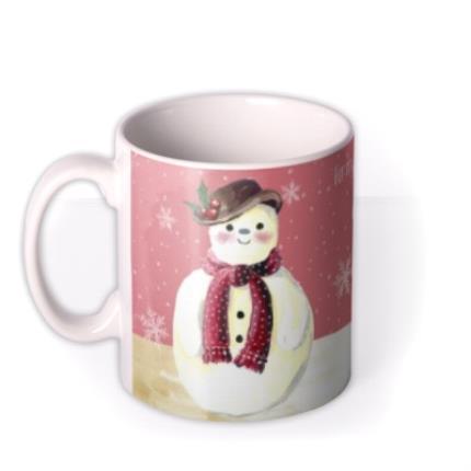 Mugs - Merry Christmas Mum Snowman Personalised Mug - Image 1