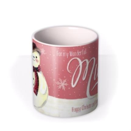 Mugs - Merry Christmas Mum Snowman Personalised Mug - Image 3