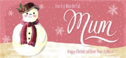 Mugs - Merry Christmas Mum Snowman Personalised Mug - Image 4