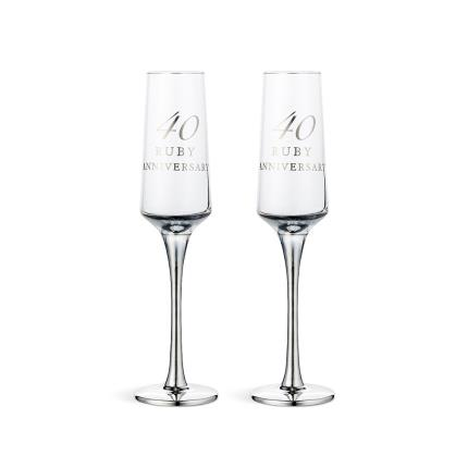 Gifts For Home - 40th Anniversary Champagne Flute Gift Set - Image 1