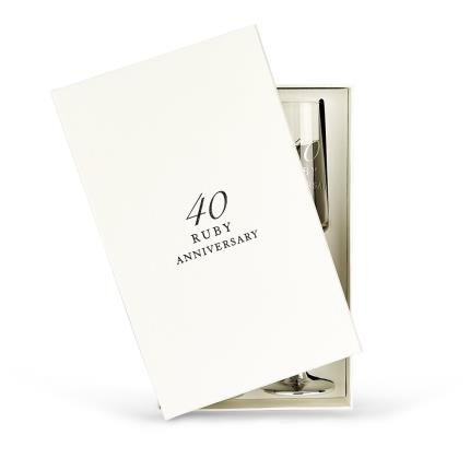 Gifts For Home - 40th Anniversary Champagne Flute Gift Set - Image 2