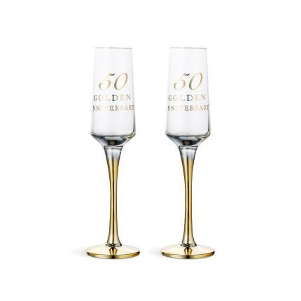 Gifts For Home - 50th Golden Anniversary Champagne Flute Gift Set - Image 1