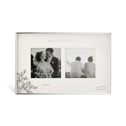 Gifts For Home - 40th Anniversary Silver Floral Double Frame - Image 1