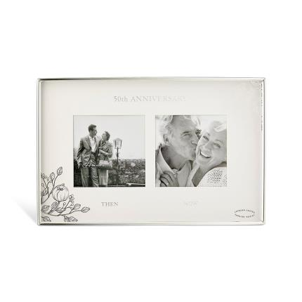 Gifts For Home - 50th Anniversary Silver Floral Double Frame - Image 1