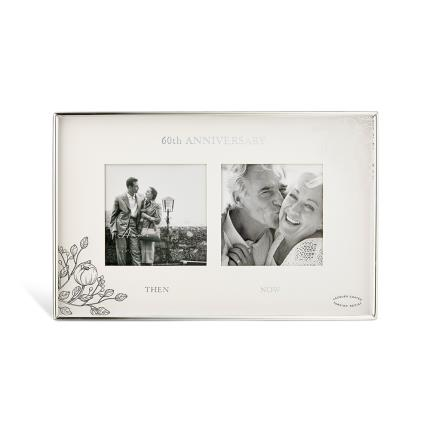 Gifts For Home - 60th Anniversary Silver Floral Double Frame - Image 1