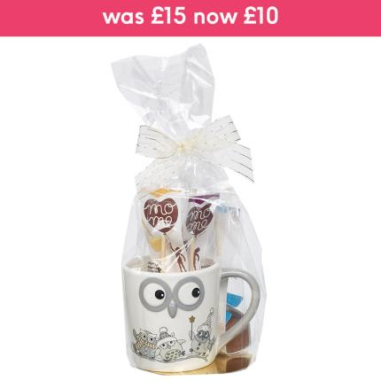 Food Gifts - Embossed Owl Mug & Chocolate Sticks Gift Set - Image 1