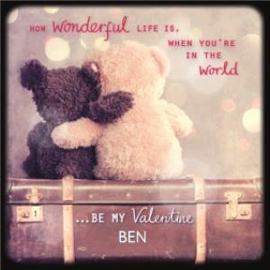 Cute Teddy Bears Hugging Be My Valentine Personalised Card
