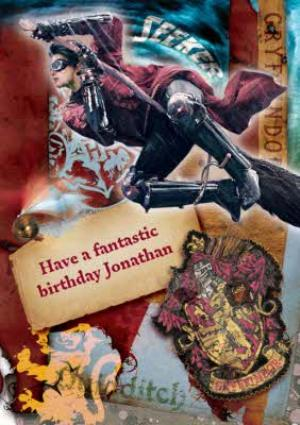 Greeting Cards - Harry Potter Gryffindor Crest Collage Personalised Birthday Card - Image 1