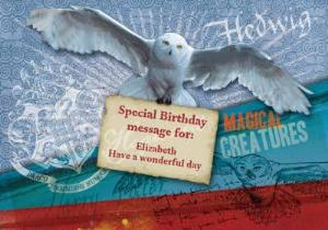 Greeting Cards - Harry Potter Magical Creatures Hedwig Personalised Birthday Card - Image 1