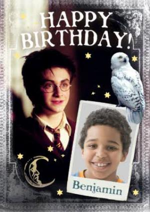 Greeting Cards - Harry Potter Hedwig Personalised Photo Upload Happy Birthday Card - Image 1