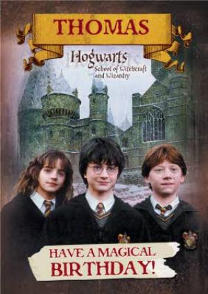 Greeting Cards - Harry Potter Magical Hogwarts Personalised Happy Birthday Card - Image 1