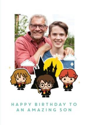 Greeting Cards - Harry Potter cartoon card - Happy birthday Son photo upload card - Image 1