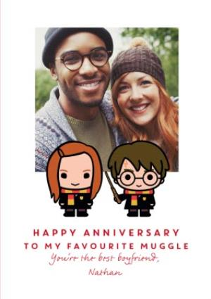 Greeting Cards - Harry Potter Cartoon Anniversary Photo Upload Boyfriend Card - Image 1