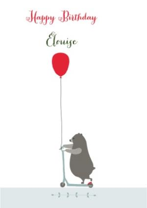 Greeting Cards - Bear On Scooter With Balloon Personalised Happy Birthday Card - Image 1