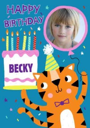 Greeting Cards - Helter Skelter Tiger Birthday Photo Upload Card - Image 1