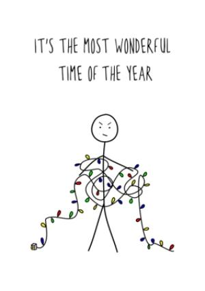 Greeting Cards - Wonderful Time Ironic Christmas Card - Image 1