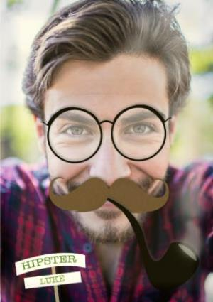 Greeting Cards - Hipster Face Upload Card - Image 1