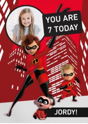Greeting Cards - Birthday Card - The Incredibles 2 - Disney Pixar - 7 today - photo upload card - Image 1