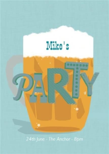Greeting Cards - Big Beer Personalised Birthday Party Invitation - Image 1
