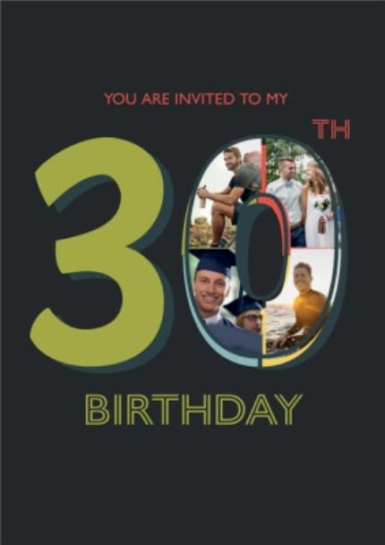 Greeting Cards - Black And Green 30Th Birthday Party Photo Invitation - Image 1