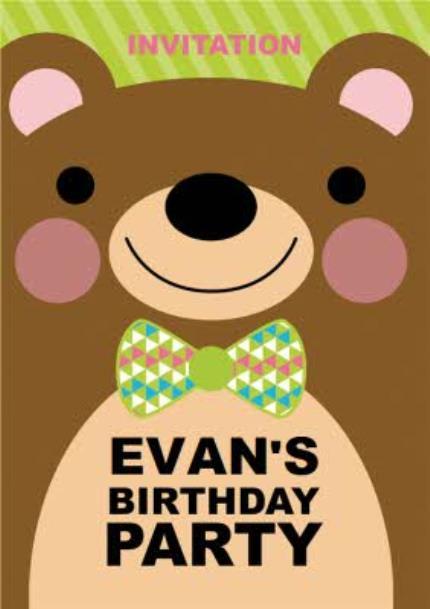 Greeting Cards - Big Teddy Bear Birthday Party Invitation - Image 1