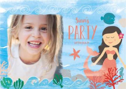 Greeting Cards - Mermaid Birthday Party Invitation - Image 1