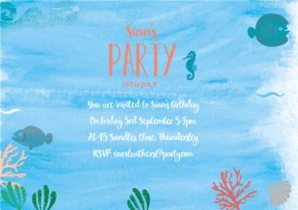 Greeting Cards - Mermaid Birthday Party Invitation - Image 3