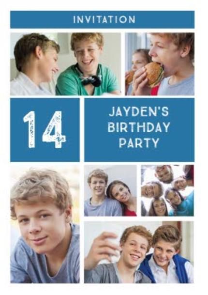 Greeting Cards - Blue Photo Grid Birthday Party Invitation - Image 1