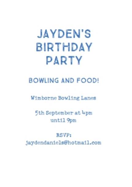 Greeting Cards - Blue Photo Grid Birthday Party Invitation - Image 3