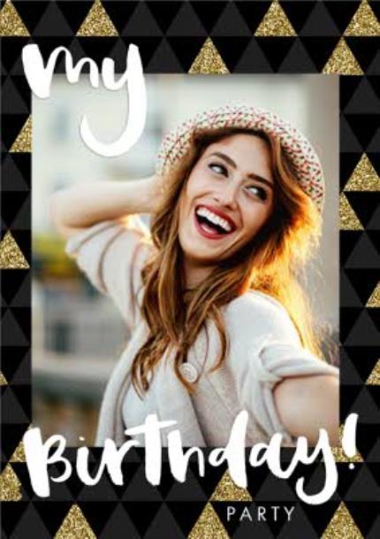 Greeting Cards - Metallic Gold Photo Upload Birthday Party Invitation - Image 1