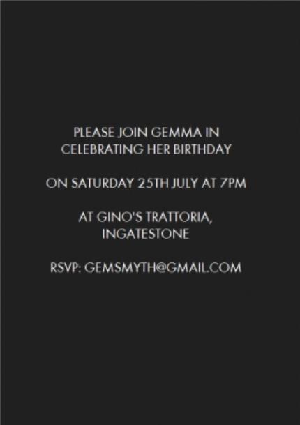 Greeting Cards - Metallic Gold Photo Upload Birthday Party Invitation - Image 3