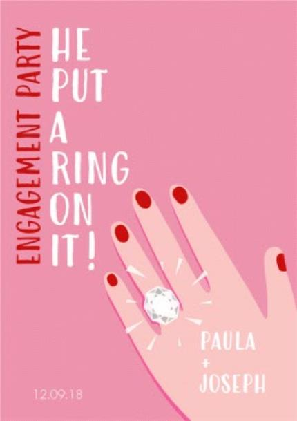 Greeting Cards - He Put A Ring On It Engagement Party Invitation - Image 1