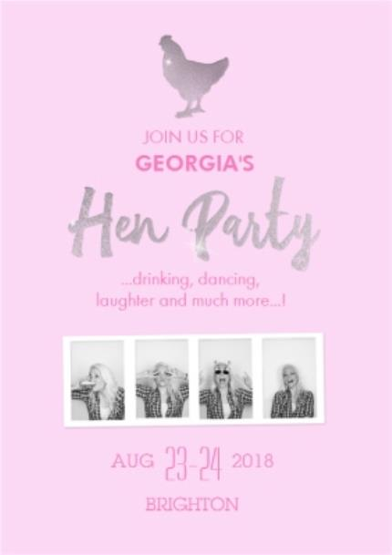 Greeting Cards - Light Pink Personalised And Photo Upload Hen-Do Party Invitation - Image 1