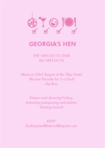 Greeting Cards - Light Pink Personalised And Photo Upload Hen-Do Party Invitation - Image 3