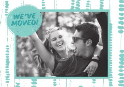 Greeting Cards - Aqua Fun Polka Dots Housewarming Party Invitation - Image 1