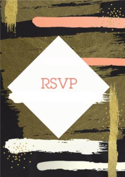 Greeting Cards - Metallic Bronze And Pink Brushstrokes Rsvp Party Invitation - Image 1