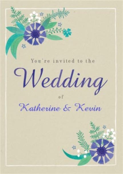 Greeting Cards - Blue Leafy Flowers Wedding Invitation - Image 1