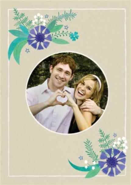 Greeting Cards - Blue Leafy Flowers Wedding Invitation - Image 2
