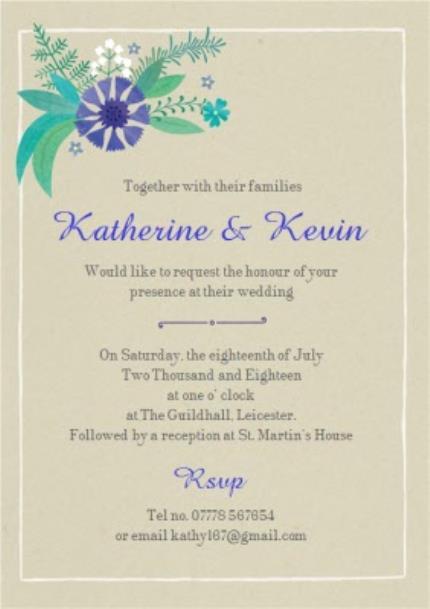 Greeting Cards - Blue Leafy Flowers Wedding Invitation - Image 3