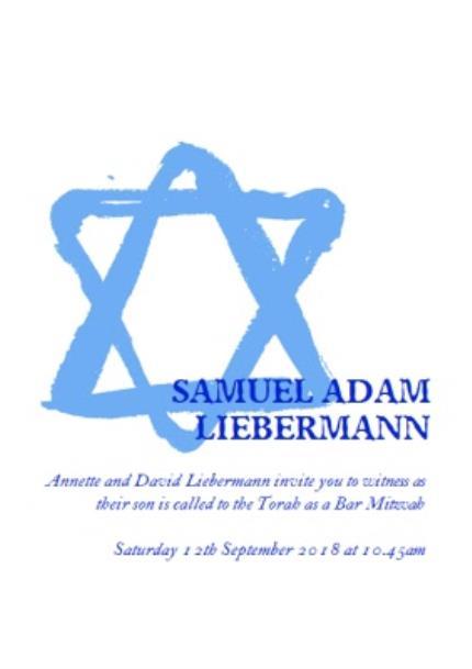 Greeting Cards - Blue Star Of David Bar Mitzvah Party Invitation - Image 1