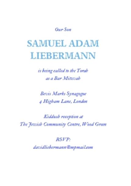Greeting Cards - Blue Star Of David Bar Mitzvah Party Invitation - Image 3