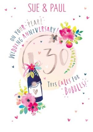 Greeting Cards - 30th Pearl Wedding Anniversary Champagne Card - Image 1