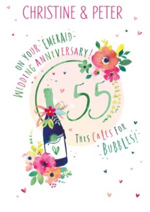 Greeting Cards - 55th Emerald Wedding Anniversary Champagne Card - Image 1