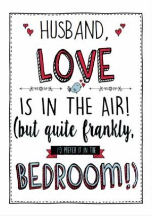 Greeting Cards - Love Is In The Air Funny Valentine's Day Husband Card - Image 1