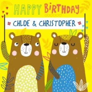 Greeting Cards - Baby Bear Twins Happy Birthday Card - Image 1