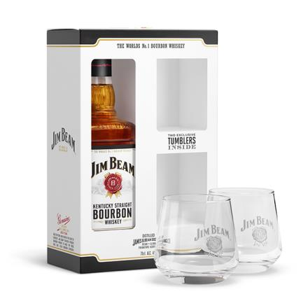 Alcohol Gifts - Jim Beam Bourbon Whiskey Gift Set 70cl - Image 1